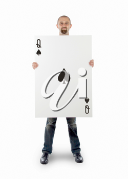 Businessman with large playing card - Queen of spades