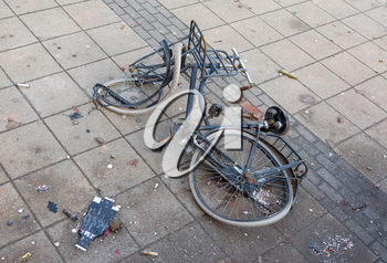 Broken bicycle in the dutch streets - Vandalism during new year