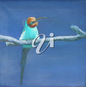 Painting of carmine bee eater, square image, blue
