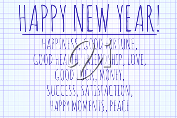 Happy new year word cloud written on a piece of paper