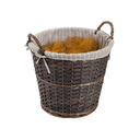 Dark rattan basket isolated on a white background