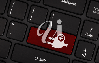 Black laptop keyboard with eco energy button