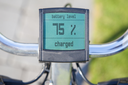 Electric bicycle display in the sun, 75 procent power left