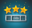 Old Cinema banner with gold stars and film tape. Vector cinema background.