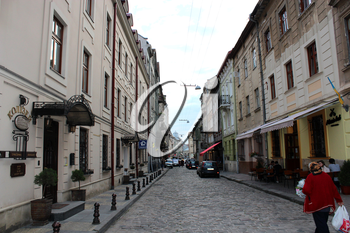 narrow street in the central part of Lvov
