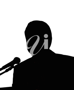 Silhouettes of the man with microphone on the white background