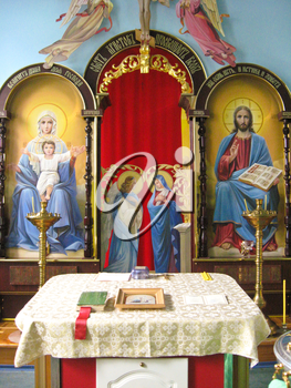 Religious place in church with beautiful icons and pictures