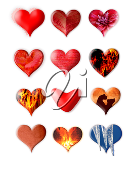 Set of different hearts isolated on white background