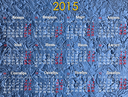 office calendar for 2015 year on the blue background