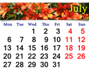 calendar for the July of 2015 on the background of beautiful red lilies