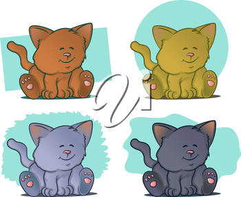 Color variations of kittens sitting and smiling