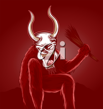 Scary Krampus illustration in red