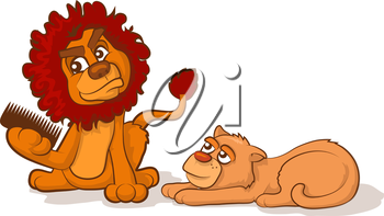 Cartoon lion and lioness with tangled hair