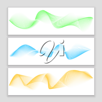 Digital wave, sound equalizer, vector colorful abstract set of banners