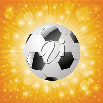 colorful illustration with  soccer ball on a sun background for your design