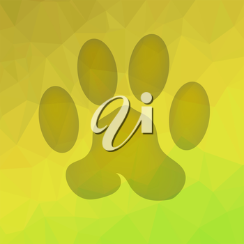 Animal Paw Print on Yellow Polygonal Background