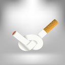 Single Cigarette Knotted and Isolated on Gray Soft Background. Health Care Concept.