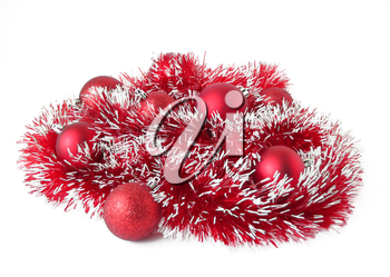 christmas balls with tinsel isolated on white background