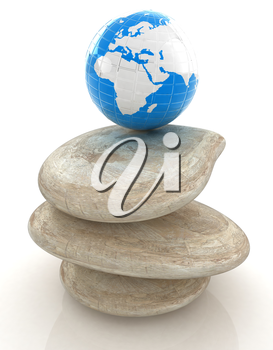 earth on spa stones. 3d icon