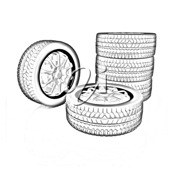 car wheel illustration on white background