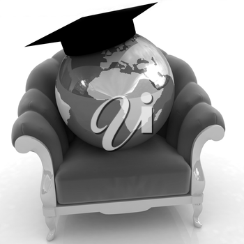 3D rendering of the Earth on a chair on a white background