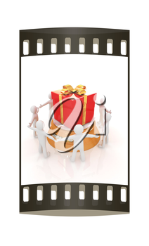 3d man around red gift with gold ribbon on a white background. The film strip