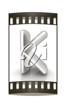 3D metall letter K isolated on white. The film strip