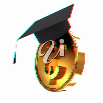 Graduation hat on gold dollar coin. 3D illustration. Anaglyph. View with red/cyan glasses to see in 3D.