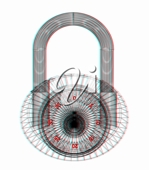 pad lock . 3D illustration. Anaglyph. View with red/cyan glasses to see in 3D.