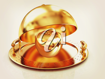 Golden Apple on glossy golden salver dish under a golden cover on a white background. 3D illustration. Vintage style.