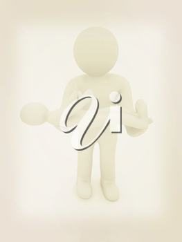 3d man holds a baby on hands. 3D illustration. Vintage style.