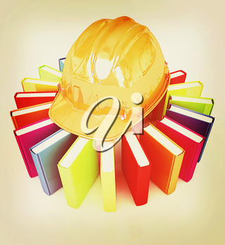 Colorful books and hard hat on a white background. 3D illustration. Vintage style.