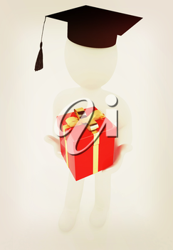 3d man in graduation hat with gift. 3D illustration. Vintage style.