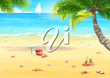 Royalty Free Clipart Image of a Beach Scene With Toys and a Sailboat