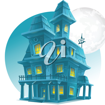 Royalty Free Clipart Image of a Haunted House