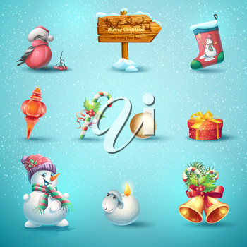 Set of festive items for Christmas and New Year