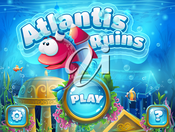 Atlantis ruins with fish rocket - vector illustration boot screen to the computer game. Bright background image to create original video or web games, graphic design, screen savers.