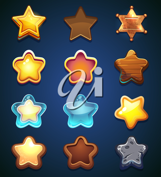 vector illustration set of stars on a blue background