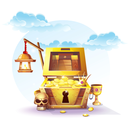 Chest of gold and a lantern in the sand under the blue clouds - vector illustration for design, banners, flyers, textures, backgrounds, postcards