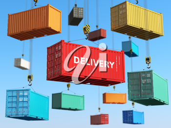 Delivery background concept. Cargo shipping containers in storage area with forklifts.  3d