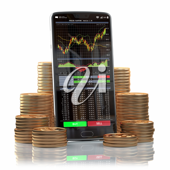 Mobile phone with forex application  on the screen and stacks of coins. Online stock trading, stock exchange and cryptocuurency concept background. 3d illustration