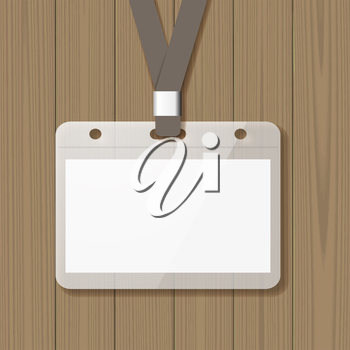 Badge template, identification card with lanyard.  Blank mockup on wooden background. Add your own background, text, logo, or any other design. Vector illustration.