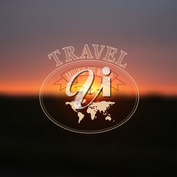 Travel label on blurred sunset background, hipster style. Vector illustration.