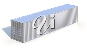 Ship cargo container. Grey metallic freight box with shadow isolated on white background. Marine olgistics, harbor warehouse, customs, transport shipping concept. 3D illustration