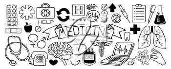 Medical doodles set of icons with science tools, human organs, diagrams etc, hand drawn with thin line. Vector illustration isolated on white background