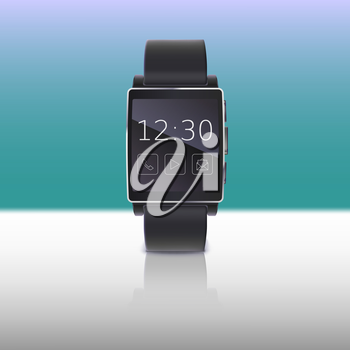 Electronic watch, computer interface. Smart watches with reflection on a colored background, isolated