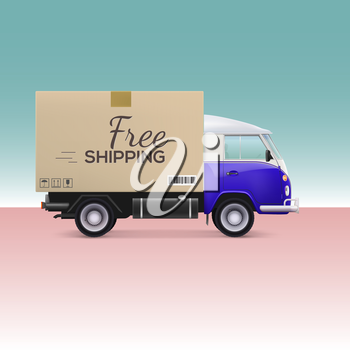 Delivery car. Free shipping inscription on cardboard box