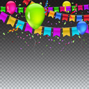 Abstract colored illustration on transparent background with balloons, garlands of colored flags, streamers and confetti. Holiday greeting card or template for Christmas, birthday or anniversary.