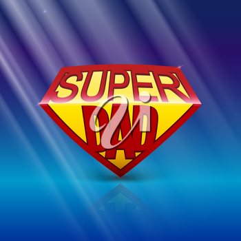 Super dad shield greeting card on blue background with rays of light. Editable vector illustration