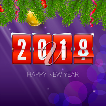 New Year is coming 2018. Background with Mechanical clock, serpentine and Christmas ball. Happy New Year 3D illustration with scoreboard, template for your greeting cards or print design.